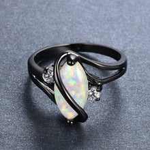 Load image into Gallery viewer, Marquise Cut White Fire Opal Black Gold Ring For Women