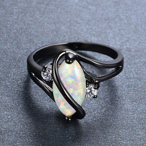 Marquise Cut White Fire Opal Black Gold Ring For Women