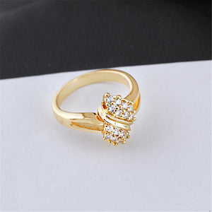18K Gold Plated Round Rhinestone Crystal Weding Ring