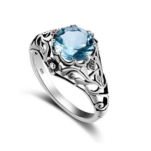 925 Sterling Silver 2ct CZ Blue Crystal Vintage Ring