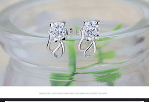 Cute Elegant 925 Sterling Silver Cat Crystal Earrings