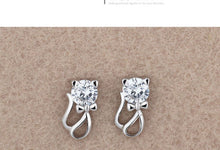 Load image into Gallery viewer, Cute Elegant 925 Sterling Silver Cat Crystal Earrings
