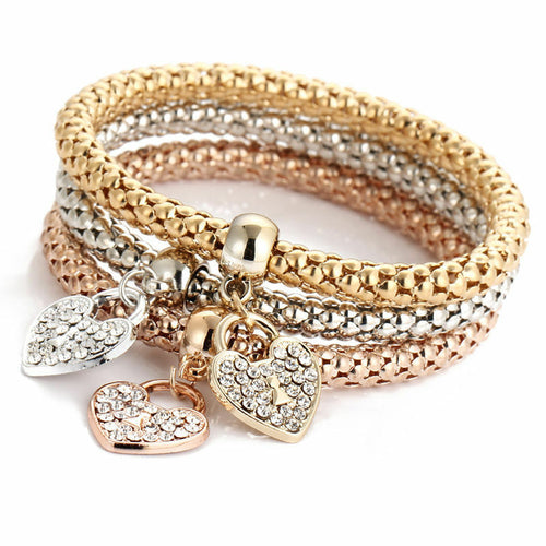 3x Women Girl Gold/Silver/Rose Gold Plated Crystal Love Heart Bangles Bracelets