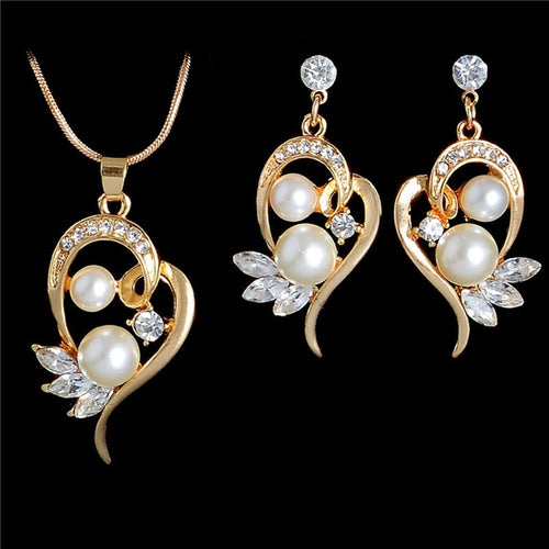 18K Gold Filled Austrian Crystal Pearl Necklace Pendant Earrings Jewelry Set