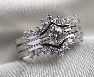 10KT White Gold Filled 1CT AAA CZ Women's Ring Sets 3 in 1