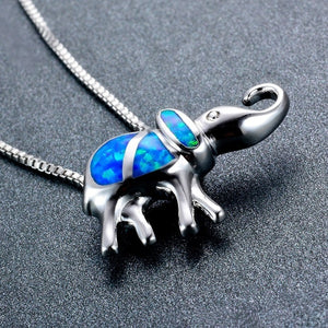 925 Sterling Silver Filled Lucky Elephant Opal Necklace for woman
