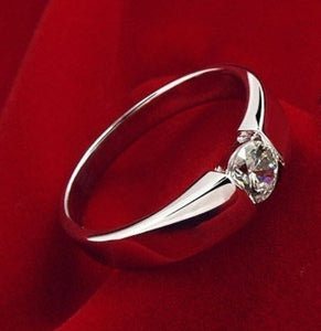 Luxury 925 Sterling Silver Man's and Woman's Diamond Wedding Ring