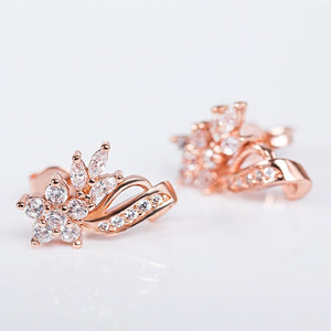 Elegant 18K Rose Gold Filled Zircon Fine Earrings