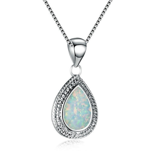 925 sterling silver Water drops shape White fire opal pendant necklace