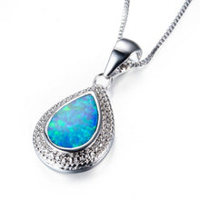 Load image into Gallery viewer, 925 sterling silver Water drops shape White fire opal pendant necklace