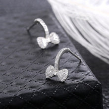 Load image into Gallery viewer, 925 Silver 18K White Gold Topaz Diamond Stud Earrings Princess Cut Square