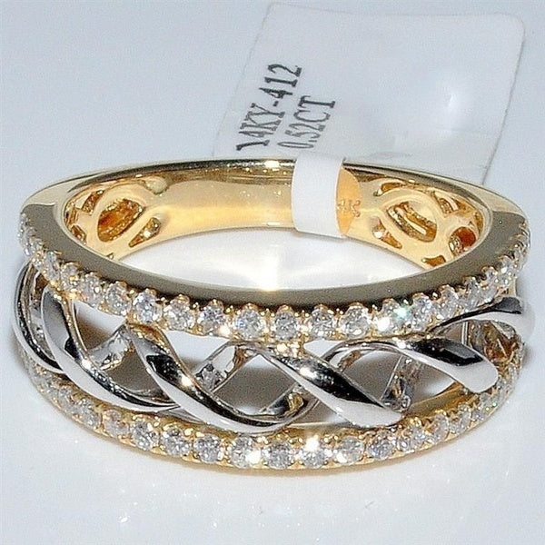 Exquisiter 925 Sterling Silber 750 Gelb Gold Damen Ring