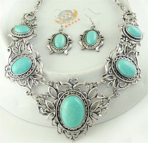 Big Pendants 3PCS/SET Women Jewelry Tibetan Silver CZ Crystal Chain Pendant Necklace Earrings Set