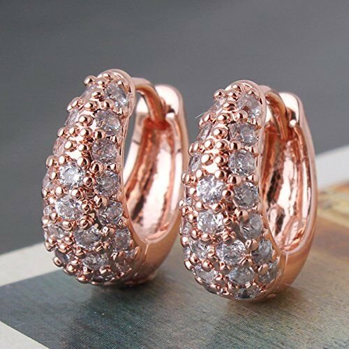 18K Rose Gold Filled White Sapphire Earrings