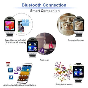 Herren Smart Watch mit Bluetooth Kamera und Sim Card für IOS & Android