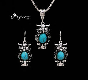 New Design Jewelry Sets Tibetan Silver Retro Turquoise Pendant Necklace Owl Drop Earrings Set