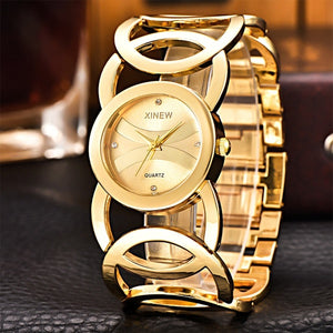 Luxury Crystal Gold Watches Women Fashion Bracelet Quartz Watch