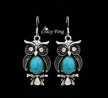 Load image into Gallery viewer, New Design Jewelry Sets Tibetan Silver Retro Turquoise Pendant Necklace Owl Drop Earrings Set