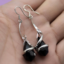 Load image into Gallery viewer, Edle 925 Sterling Silber Black Topas Damen Ohrringe