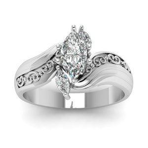 Exquisite and beautiful women's 925 pure silver Natural White Sapphire Diamond Ring