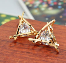 Load image into Gallery viewer, Exquisite Triangle Pierced Crystal Zircon Stud Earrings Jewelry for Women Ear Studs
