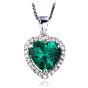 925 Sterling Silver Green Emerald Pendant