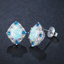 Load image into Gallery viewer, 925 Silver Fashion Jewelry Stud Earrings Rhombic Pattern Earring With White Oval Opal