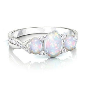 Exquisite 925 Sterling Silver opal zircon Ring for Woman