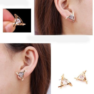Exquisite Triangle Pierced Crystal Zircon Stud Earrings Jewelry for Women Ear Studs
