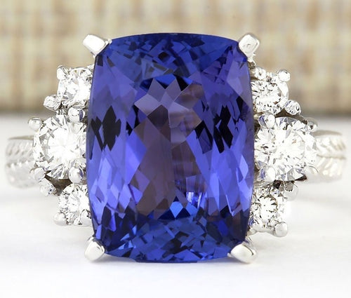 Natural 6.55CT Tanzanite 925 Sterling Silver Ring