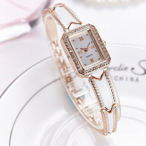 New Stylish Women's Square Roman Numeral Stainless Steel Band Quartz Wrist Watch