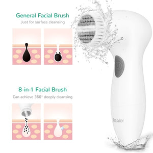 FRCOLOR 8 in 1 Electric Facial Cleaning Brush Electric Beauty Device