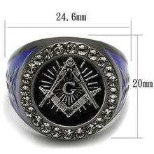 Load image into Gallery viewer, Stainless Steel Black & Blue Ion Plated Crystal Masonic Freemason Ring