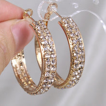 Load image into Gallery viewer, 30mm Unique Bling Cubic Zirconia Gold Silver Gold Hoop Earrings