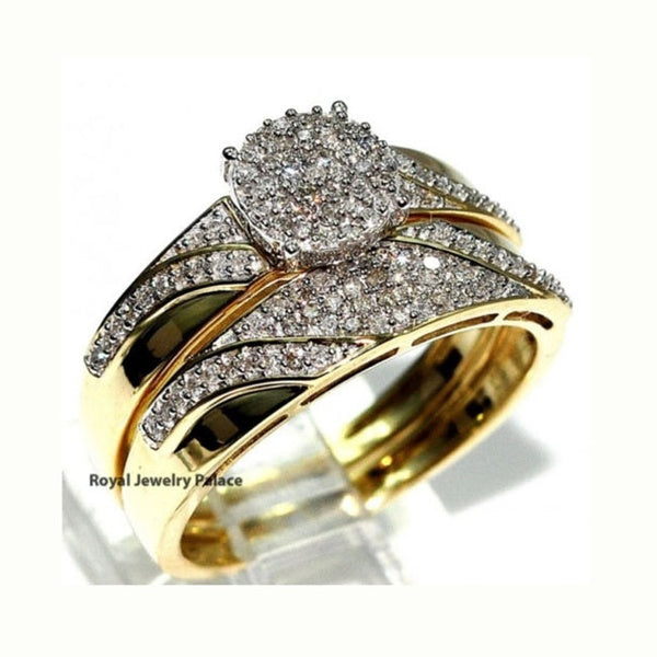 Gorgeous 2 Pcs  18k Solid Yellow Gold Rings Set