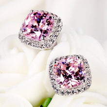 Load image into Gallery viewer, Classic 18K White Gold Prinicess Cut Pink Diamond Stud Earrings