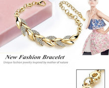Load image into Gallery viewer, 18K Gold Braided Leaf Bracelets for Women Luxury Crystal Bracelet