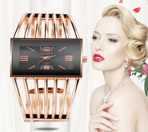 Luxury Fashion Rose Gold Bangle Bracelet Watch