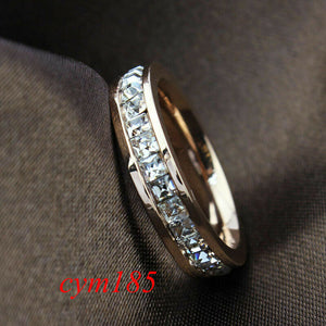 Eleganter Silber / Rosen Gold Titanium Damen Ring