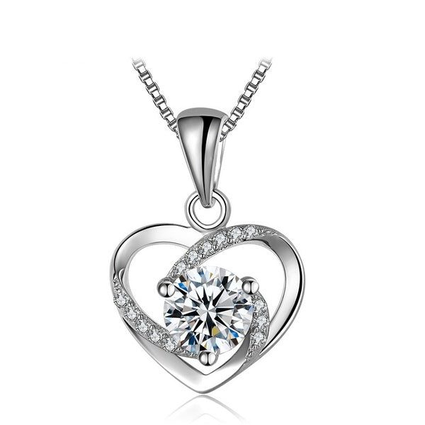 925 Sterling Silver Mini Heart Pendant Necklaces for Women