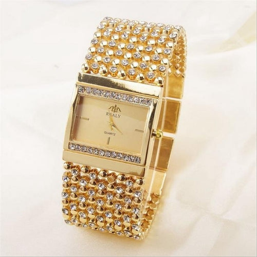 Elegant Women Square Diamond Inlaid Quartz Watch
