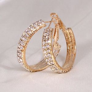 30mm Unique Bling Cubic Zirconia Gold Silver Gold Hoop Earrings