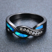 Load image into Gallery viewer, High quality Blue Fire Opal Cross Black Gold Ring for woman