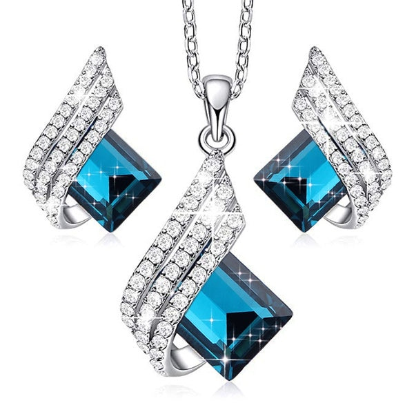 Silver Jewelry Set Crystal Gem Necklace and Earrings Set