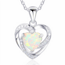 Load image into Gallery viewer, Elegante 925 Sterling Silber Feuer Opal Damen Halskette