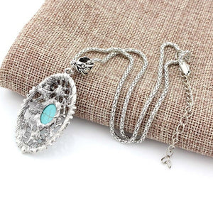 Vintage Retro Beautiful Turquoise Hollow Crystal Inlay Pendant Tibetan Silver Necklace