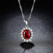 Load image into Gallery viewer, Exquisite 925 Silver Tanzanite Ruby/Blue Sapphire Necklace