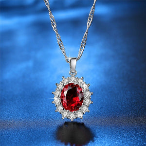 Exquisite 925 Silver Tanzanite Ruby/Blue Sapphire Necklace