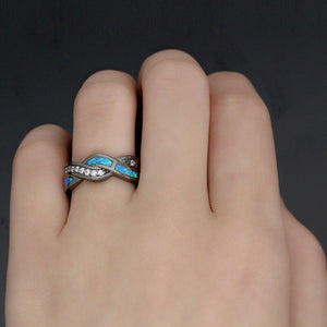 High quality Blue Fire Opal Cross Black Gold Ring for woman