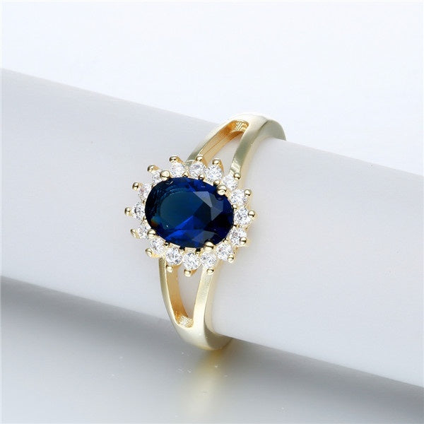 Newest Round Cut Sapphire Gemstone Gold Ring & Fashion Zircon 14KT Gold Ring